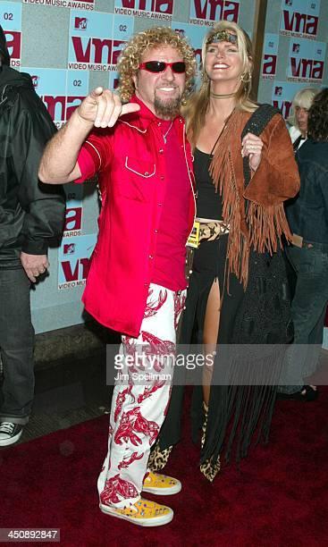 Sammy Hagar and wife Kari Hagar during 2002 MTV Video Music Awards Arrivals at Radio City Music Hall in New York City New York United States