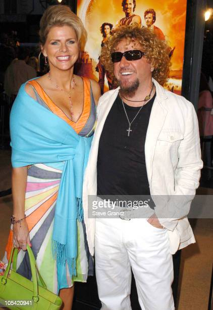 Sammy Hagar and wife Kari Hagar during Sahara Los Angeles Premiere Arrivals at Grauman's Chinese Theatre in Hollywood California United States