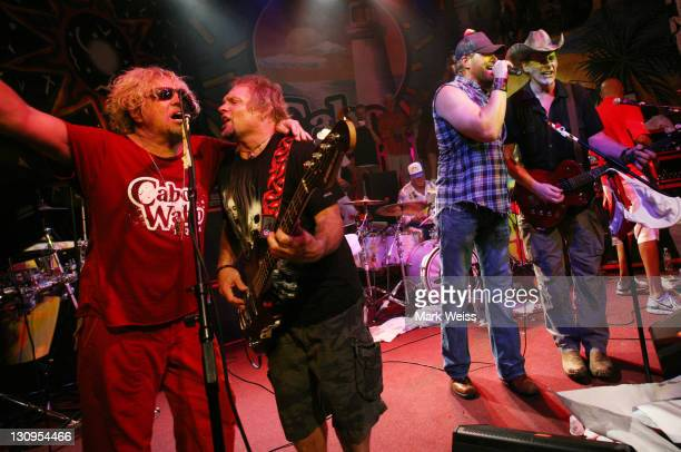 Sammy Hagar Michael Anthony Toby Keith and Ted Nugent perform during Hagar's 60th birthday bash at Cabo Wabo Cantina October 13 2007 in Cabo San...