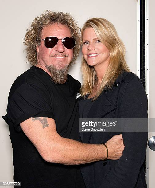 Sammy Hagar poses with his wife Kari backstage before his performance at Route 66 Casinos Legends Theater on January 22 2016 in Albuquerque New Mexico