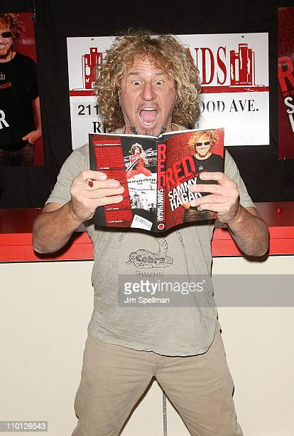 """Sammy Hagar promotes his new book """"Red: My Uncensored Life In Rock"""" at Bookends Bookstore on March 15, 2011 in Ridgewood, New Jersey."""