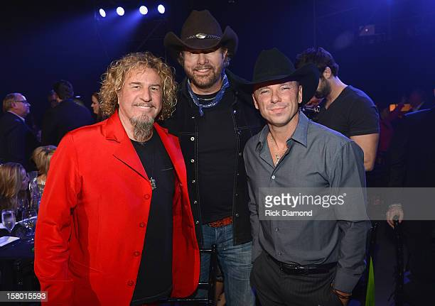 Sammy Hagar Toby Keith and Kenny Chesney pose backstage during the 2012 CMT Artists Of The Year at The Factory at Franklin on December 3 2012 in...