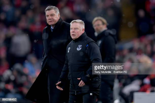 Sammy Lee and Sam Allardyce during the Premier League match between Liverpool and Everton at Anfield on December 10 2017 in Liverpool England