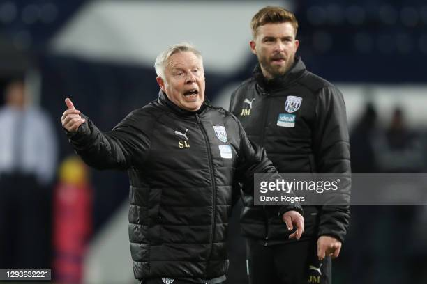 Sammy Lee, First Team Coach of West Bromwich Albion conducts the warm up prior to the Premier League match between West Bromwich Albion and Leeds...