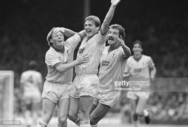 Sammy Lee Kenny Dalglish and Graeme Souness of Liverpool celebrate a goal during a match against Arsenal at Highbury Stadium in London on 10th...