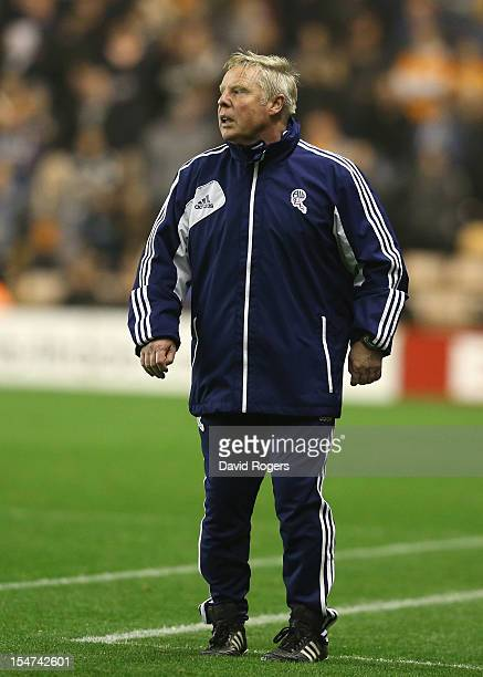 Sammy Lee, the Bolton assistant manager looks on during the npower Championship match between Wolverhampton Wanderers and Bolton Wanderers at...