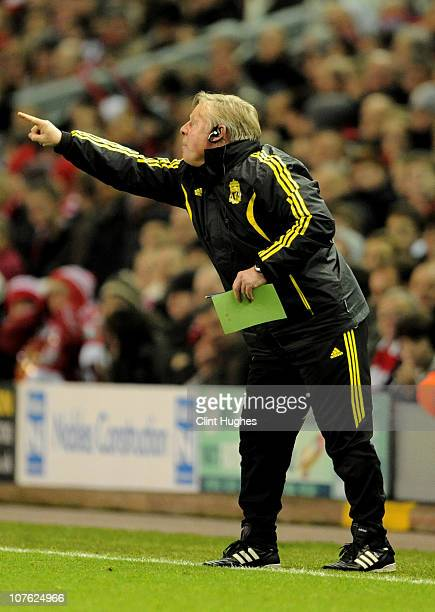 Sammy Lee the Liverpool assistant coach issues instructions during the UEFA Europa League Group K match between Liverpool and FC Utrecht at Anfield...