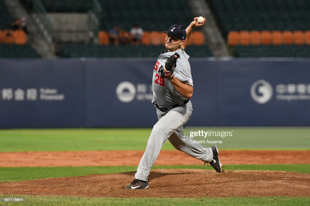 Sammy Lizarraga #29 of United States pitches against Russia during the Baseball Group B match between United States and Russia during day three of the 29th Summer Universiade Taipei at the Xinzhuang Baseball Stadium on August 22, 2017 in Taipei, Taiwan.