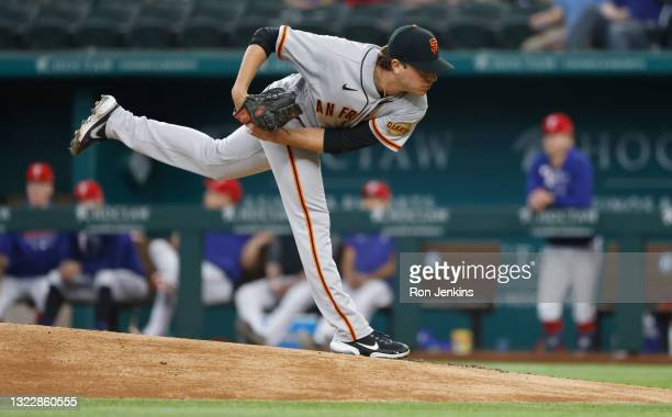 Sammy Long of the San Francisco Giants delivers against the Texas Rangers during the second inning at Globe Life Field on June 9, 2021 in Arlington,...