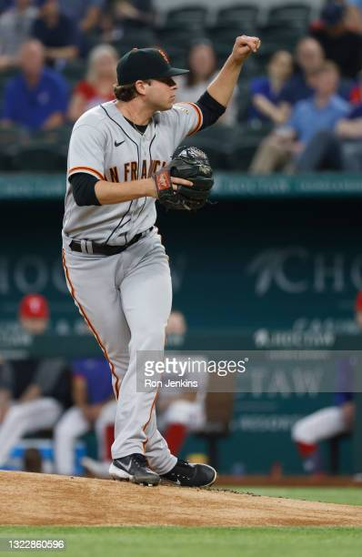 Sammy Long of the San Francisco Giants follows through against the Texas Rangers during the second inning at Globe Life Field on June 9, 2021 in...