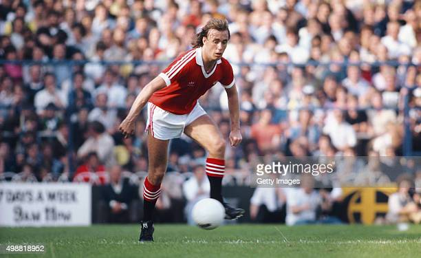 Sammy McIlroy of Manchester United in action during a Division One match against Tottenham Hotspur at White Hart Lane on September 6, 1980 in London,...
