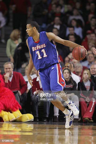 Sammy Mejia of the DePaul Blue Demons dribbles the ball during the game against the Louisville Cardinals on Feburary 22 2006 at Freedom Hall in...