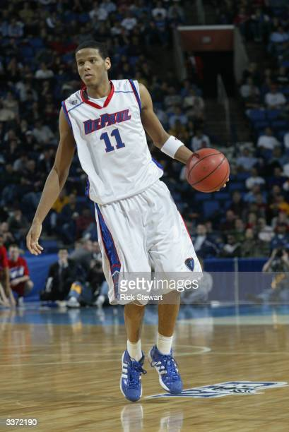 Sammy Mejia of the DePaul University Blue Demons moves the ball against the University of Dayton Flyers during the first round of the NCAA Mens...