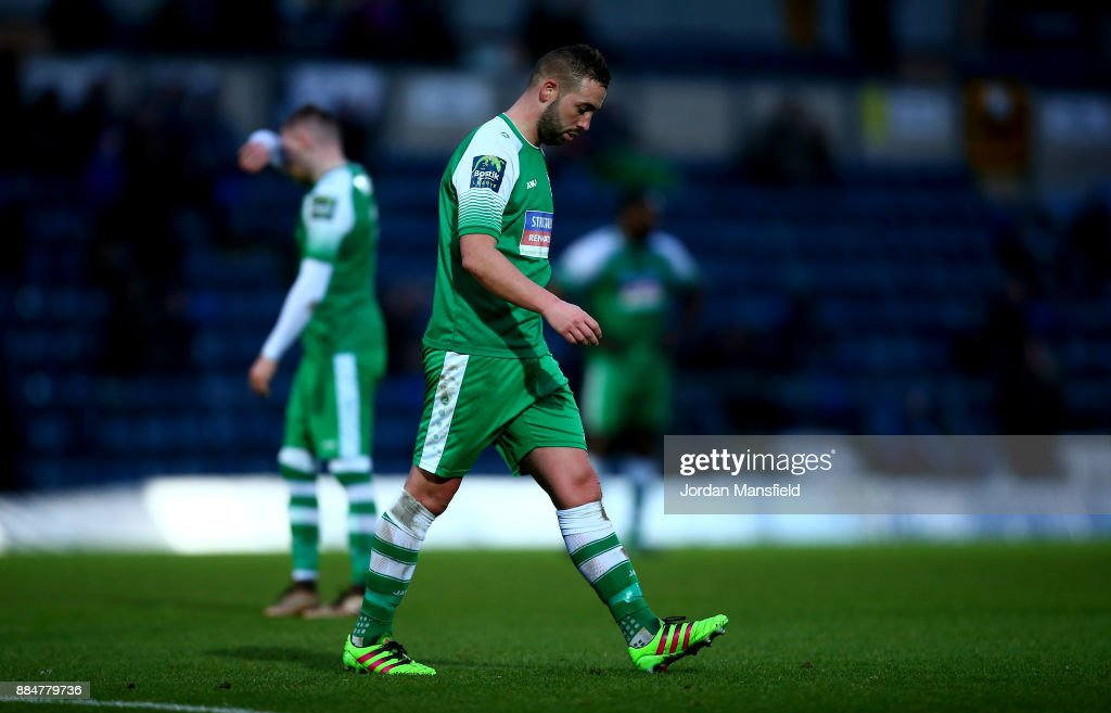 Sammy Moore of Letherhead walks off after being sent off during The Emirates FA Cup Second Round between Wycombe Wanderers and Leatherhead at Adams Park on December 3, 2017 in High Wycombe, England.