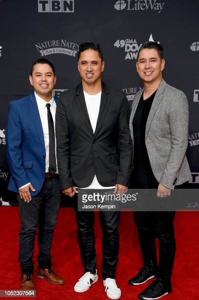 Sammy Morales Josh Morales and Luis Morales Jr of musical group Miel San Marcos attend the 49th Annual GMA Dove Awards at Allen Arena Lipscomb...