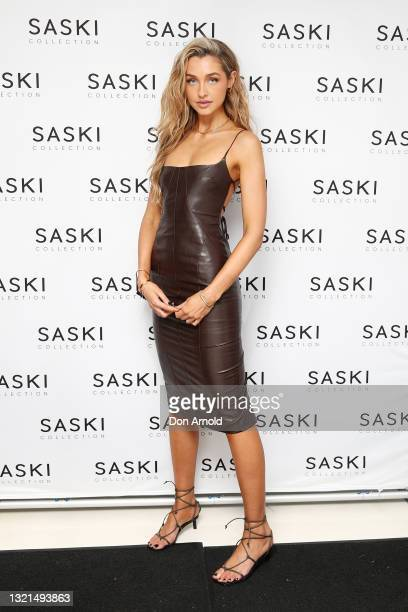 Sammy Robinson poses during the Saski Collection event during Afterpay Australian Fashion Week 2021 '22 Collections at Meu Jardim Sydney on June 03,...