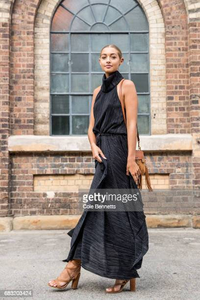 Sammy Robinson wearing a Shona Joy dress Bellini shoes and Chloe bag during MercedesBenz Fashion Week Resort 18 Collections at Carriageworks on May...