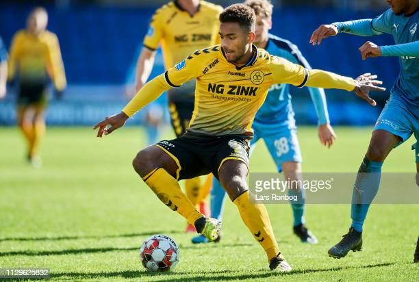 RANDERS DENMARK MARCH Sammy Skytte of AC Horsens in action during the Danish Superliga match between Randers FC and AC Horsens at Cepheus Park on...