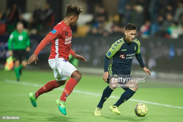 Sammy Skytte of Silkeborg IF and Svenn Crone in action during the Danish Alka Superliga match between Silkeborg IF and Brondby IF at JYSK Park on...