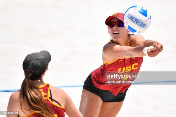 Sammy Slater of the University of Southern California hits a dig against Pepperdine University during the Division I Women's Beach Volleyball...