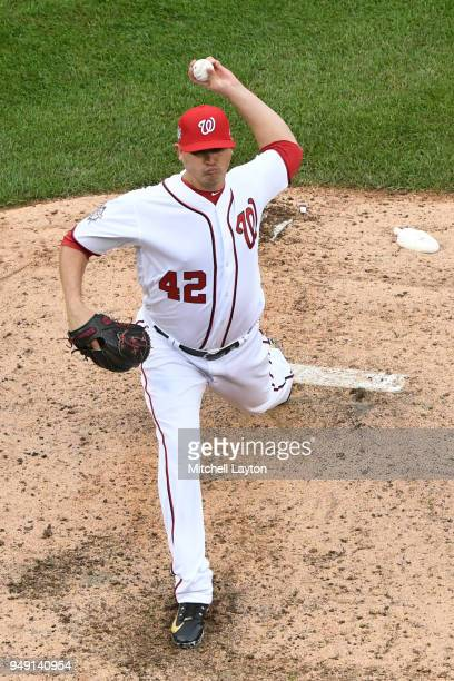 Sammy Solis of the Washington Nationals pitches during a baseball game against the Colorado Rockies at Nationals Park on April 15 2018 in Washington...