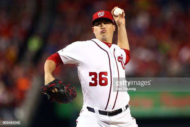 Sammy Solis of the Washington Nationals pitches during Game 5 of the National League Division Series against the Chicago Cubs at Nationals Park on...