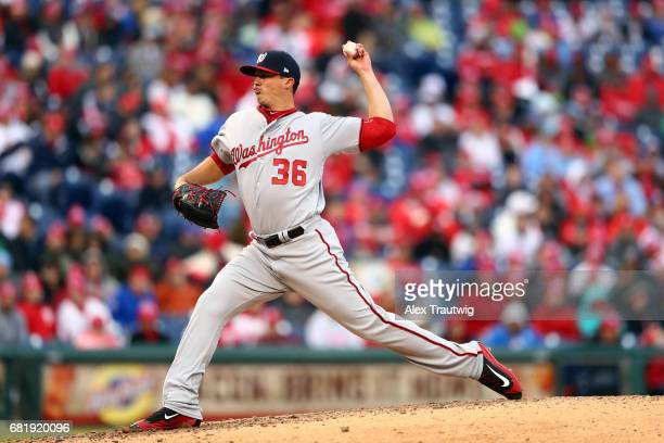 Sammy Solis of the Washington Nationals pitches during the game against the Philadelphia Phillies at Citizens Bank Park on Friday April 7 2017 in...