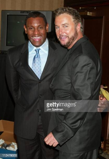 Sammy Sosa and William Petersen during Spike TV Presents the 2003 GQ Men of the Year Awards Press Room at The Regent Wall Street in New York City New...