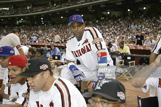 Sammy Sosa looks on during the 2004 AllStar Game Home Run Derby at Minute Maid Field on July 12 2004 in Houston TX
