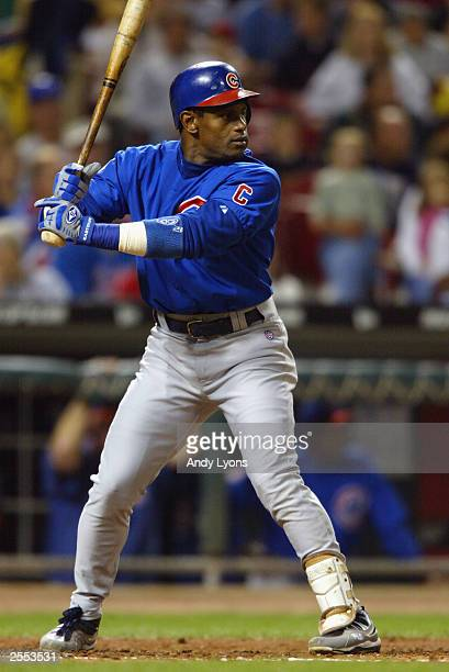 Sammy Sosa of the Chicago Cubs bats against the Cincinnati Reds during the game on September 25, 2003 at Great American Ball Park in Cincinnati,...
