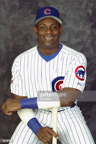 Sammy Sosa of the Chicago Cubs poses for a portrait during the Cubs' spring training Media Day on February 21 2003 at Fitch Park in Mesa Arizona