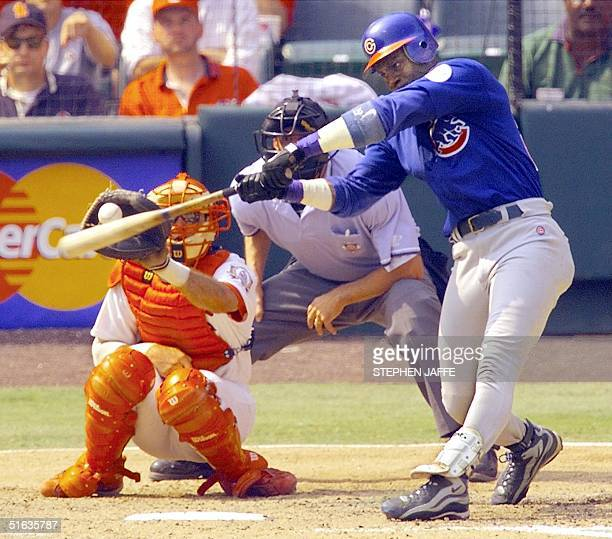 Sammy Sosa of the Chicago Cubs strikes out in the ninth inning of action against the St Louis Cardinals at Busch Stadium 07 September in St Louis...