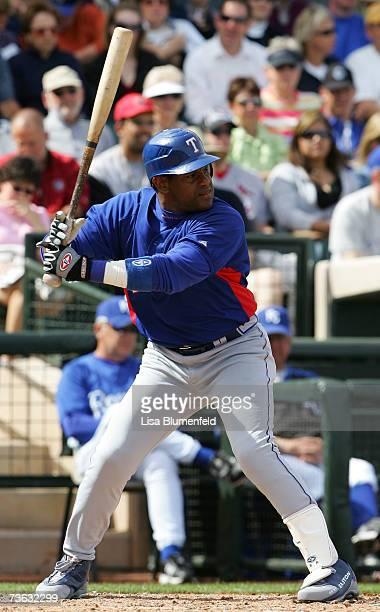 Sammy Sosa of the Texas Rangers bats against the Kansas City Royals at Surprise Stadium on March 4 2007 in Surprise Arizona