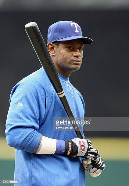 Sammy Sosa of the Texas Rangers looks on during batting practice prior to the game against the Seattle Mariners on April 14 2007 at Safeco Field in...