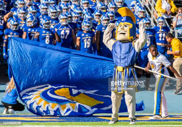 Sammy the Spartan mascot for the San Jose State Spartans gets ready to bring the team on for the game between the Hawaii Warriors and the San Jose...