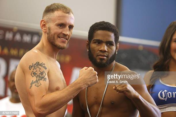Sammy Vasquez and Felix Diaz Jr pose for the media during their weighin at Legacy Arena at the BJCC on July 15 2016 in Birmingham Alabama