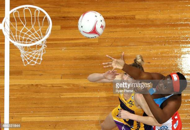 Sammy Wallace of the Swifts competes for the ball against Erena Mikaere of the Lightning during the round eight Super Netball match between the NSW...