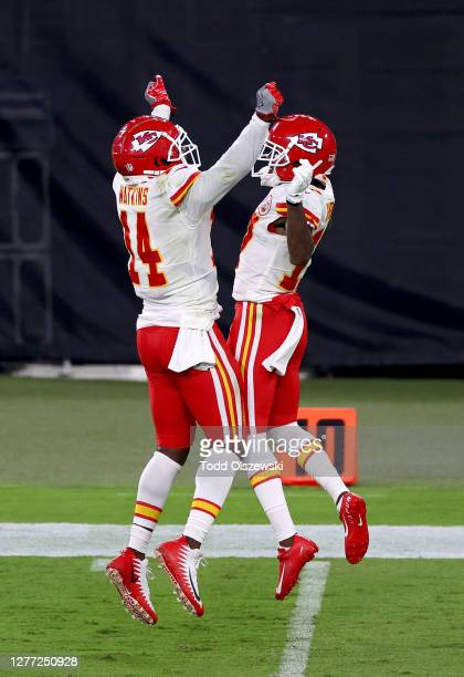 Sammy Watkins and Mecole Hardman of the Kansas City Chiefs celebrate after a touchdown against the Baltimore Ravens during the second quarter at M&T...