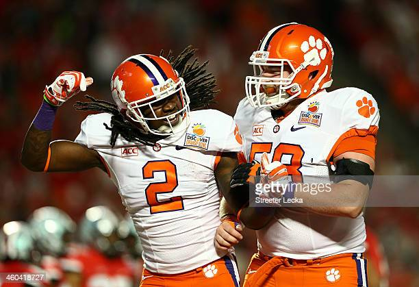 Sammy Watkins and Ryan Norton of the Clemson Tigers celebrate after a Watkins touchdown in the first quarter against the Ohio State Buckeyes during...