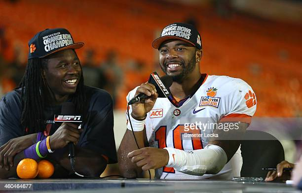 Sammy Watkins and Tajh Boyd of the Clemson Tigers speak to the media after defeating the Ohio State Buckeyes during the Discover Orange Bowl at Sun...