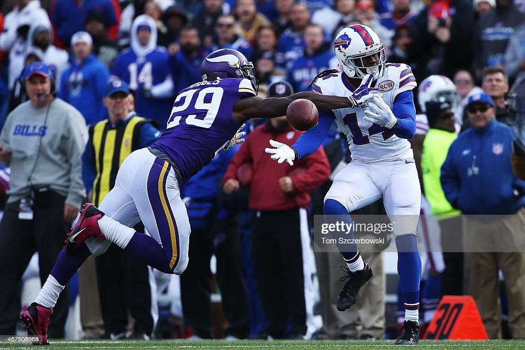 Sammy Watkins #14 of the Buffalo Bills can't make the catch as Xavier Rhodes #29 of the Minnesota Vikings defends during the second half at Ralph Wilson Stadium on October 19, 2014 in Orchard Park, New York.