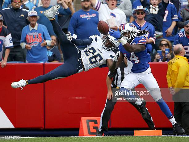 Sammy Watkins of the Buffalo Bills has a reception broken up by Brandon Flowers of the San Diego Chargers during the first half at Ralph Wilson...