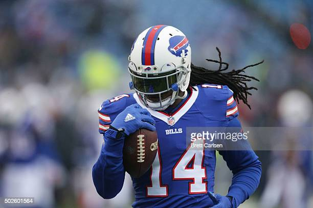 Sammy Watkins of the Buffalo Bills warms up before the game against the Dallas Cowboys at Ralph Wilson Stadium on December 27 2015 in Orchard Park...