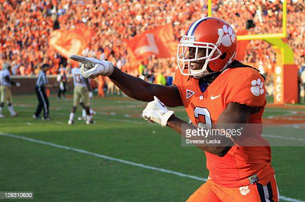 Sammy Watkins of the Clemson Tiger celebrates after scoring a touchdown against the Florida State Seminoles during their game at Memorial Stadium on...