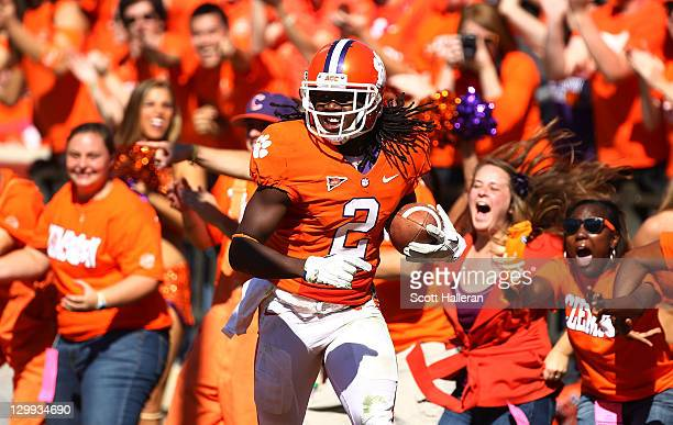 Sammy Watkins of the Clemson Tigers celebrates a second half touchdown against the North Carolina Tar Heels during their game at Memorial Stadium on...