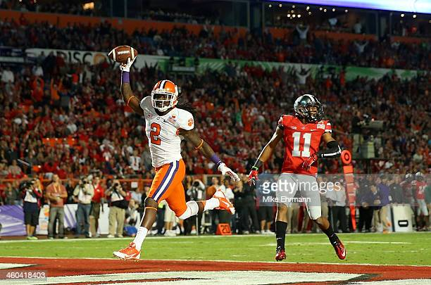 Sammy Watkins of the Clemson Tigers celebrates after scoring a touchdown in the first quarter against Vonn Bell Ohio State Buckeyes during the...