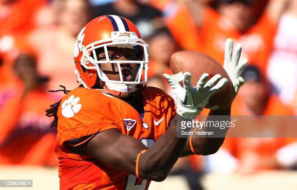 Sammy Watkins of the Clemson Tigers hauls in a second half touchdown against the North Carolina Tar Heels during their game at Memorial Stadium on...