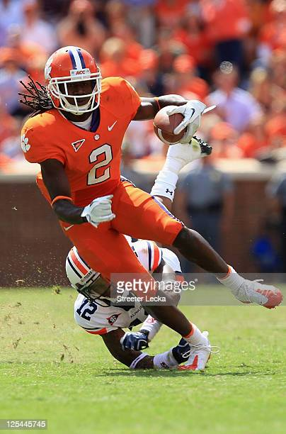 Sammy Watkins of the Clemson Tigers runs with the ball against Demetruce McNeal of the Auburn Tigers during their game at Memorial Stadium on...