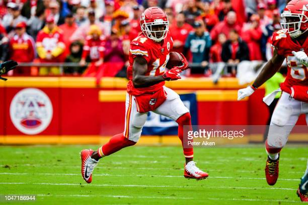 Sammy Watkins of the Kansas City Chiefs catches a pass in space during the second quarter of the game against the Jacksonville Jaguars at Arrowhead...