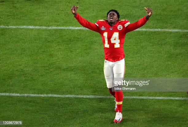 Sammy Watkins of the Kansas City Chiefs celebrates after defeating the San Francisco 49ers 3120 in Super Bowl LIV at Hard Rock Stadium on February 02...